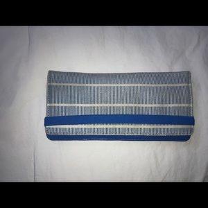 Kate Spade: blue/white stripe fabric wallet